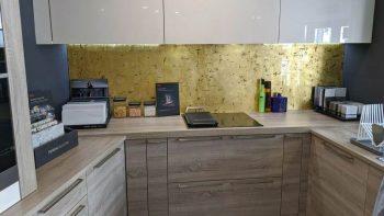 Ex Display Ivory Cream Gloss & Bardolino Oak effect Kitchen