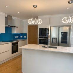 Howdens White Gloss Handleless Kitchen & Island Neff Appliances Worktops