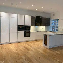 Large White Gloss Modern Handleless Kitchen