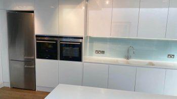 White Gloss Handleless Kitchen & Island