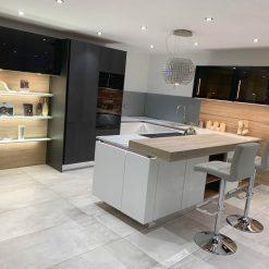 Ex Display Nolte Soft Black White & Ferro Blue Steel Kitchen