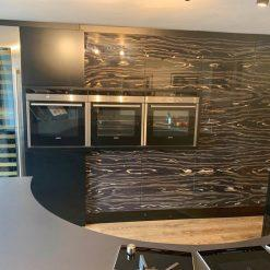Hanak Black Gloss Lacquered & Bookmatched Kitchen & Island
