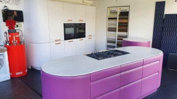 Rational Onda Curved Door Pink & White Matt Kitchen