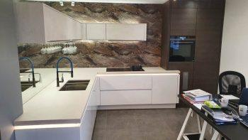 Nobilia White Concrete Effect Ex Display Kitchen
