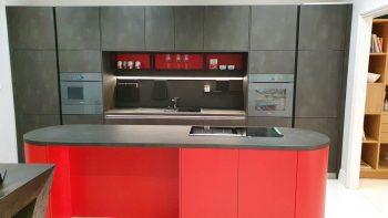 Schuller Steel Dark Effect & Fiery Red Satin Ex Dsiplay Kitchen