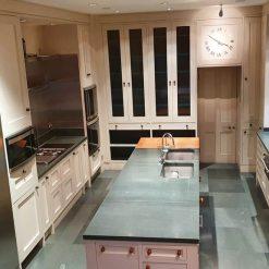 Bespoke Handpainted Mint Inframe Wood Kitchen