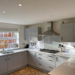 Symphony Light Grey Gloss Kitchen AEG Appliances & Granite Worktops
