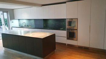 Boffi Handless Light Off White & Wood Veneer Kitchen & Island with Gaggenau Appliances