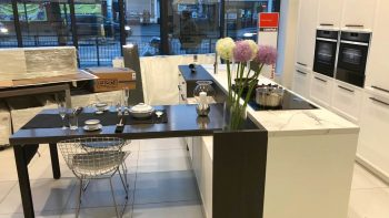 Miton Levante Matt lacquer Titan White Kitchen, Island & Dining Table