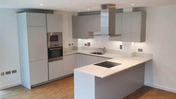 Unused New Matt Light Grey Handless Kitchen Appliances & Worktops