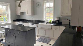 Bespoke Handpainted Wood Doors Inframe Shaker Kitchen, Island & Aga