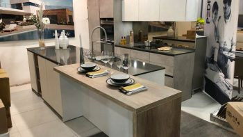Ex Display Axis Grey and White Handleless Kitchen with Island
