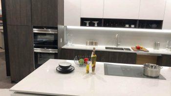 Ex Display Axis Matt White & Laminate Wood Kitchen with Island