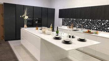 Ex Display Miton Menta Matt White Handleless Kitchen & Island