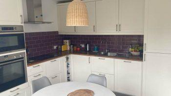 Ikea White Inframe Shaker Kitchen with Wood Worktops & appliances