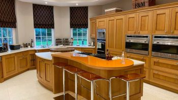 Mark Wilkinson Kitchen & Island with Corian Worktops, Subzero, Wolf & Siemens Appliances