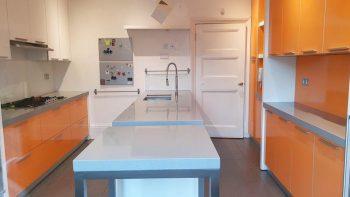 Aurora Orange & White Gloss Kitchen with Island, appliances