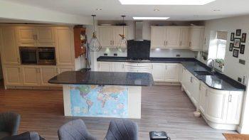 Matt Cream Wood Door Kitchen with Granite & Appliances