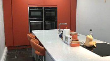 Matt Orange & Light Grey Handless Modern Kitchen & Island