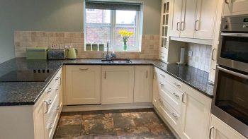 Sheraton Shaker Cream Matt Brushed Nickel Handles Kitchen & Utility Room Neff Appliances Granite Worktops