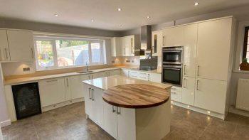Staffordshire Kitchens High Gloss Alabaster Kitchen & Island