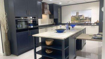 Ex Display Hacker Velvet Blue & Cream Shaker Antique Copper Handle Kitchen & Island