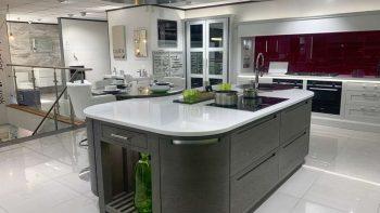 Ex Display Stoneham Grey Wood Grain Island & Table & Worktops