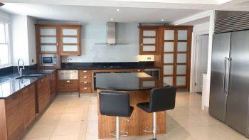 Walnut & Glass Bespoke Wood Dovetail Joint Kitchen + Island