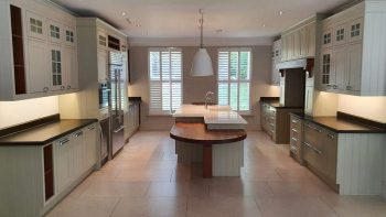 Inframe Shaker Painted Wood Olive Taupe Kitchen with Thick Worktops & Appliances