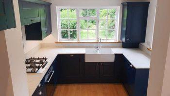 Painted Wren Shaker Matt Blue Kitchen Worktops & Appliances