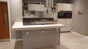 Ex Display Mobalpa Kiffa Tin Grey & Light Oak Kitchen with Silestone Worktops
