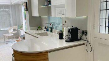 John Ladbury Modern White Gloss & Timber effect Kitchen Granite Worktops