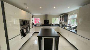 Large Modern White Handleless Kitchen & Island