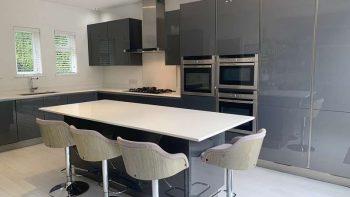 Hacker Large Modern Grey Gloss Kitchen & Island