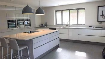 Large Dove Grey Gloss Kitchen & Butter Cream Shaker Utility Room
