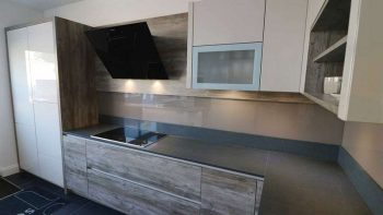 Schmidt Gloss Kashmir Grey and Canyon Wood Effect Arcos Kitchen with Silestone Worktops & Miele Appliances