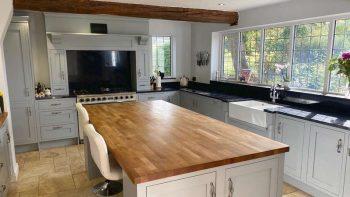 Little Greene Urban Grey Painted Bespoke Hand Made Wood Kitchen with Granite, Oak worktops