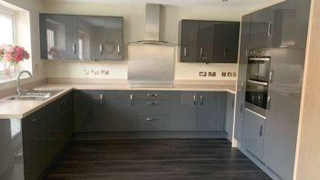 Symphony Modern Grey Gloss Kitchen Zanussi Appliances Worktops
